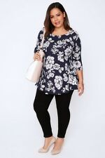 Plus Size Navy & Pink Floral Print Longline Peplum Top With Long Sleeves