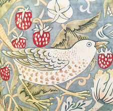 Strawberry Thief William Morris fabric, red or green birds Art Nouveau, cotton