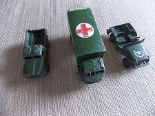 dinky toys  military ambulance, army 1 ton cargo truck and army jeep