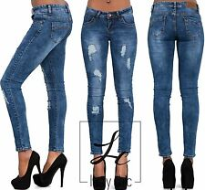 NEW LADIES WOMENS SKINNY FIT RIPPED BLUE JEANS DENIM SIZE 6 8 10 12 14