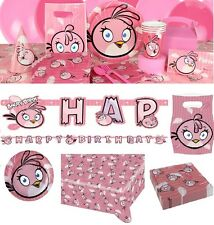 NEW Angry Birds Pink Party Birthday Decorations Tableware Plates Napkins Cups