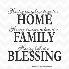HOME FAMILY BLESSING vinyl wall art sticker saying words family quote love care