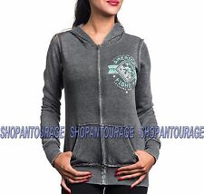 AMERICAN FIGHTER Massachusetts FW3753 New Women`s Lt.Black Hoodie By Affliction