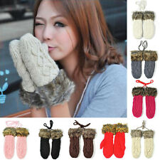 Womans Girls Warm Winter Lovely Knit Faux Fur Gloves  Mittens With String Hot