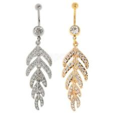Crystal Rhinestone Leaf Dangle Belly Button Rings Steel Belly Ring Body Jewelry