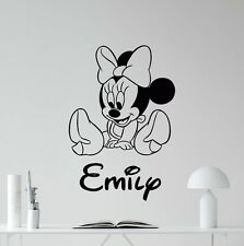 Minnie Mouse wall sticker Personalised any name boys wall art AFC3 DECAL DECOR