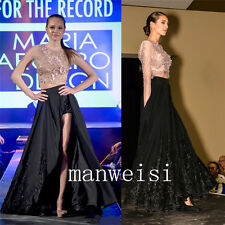 Two-Piece Sexy High-Split Evening Dresses Long-Sleeve Custom Formal Pageant Prom