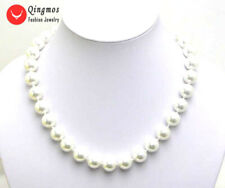 SALE 12MM high luster AAA WHITE Perfect Round Sea Shell Pearl NECKLACE -nec5036