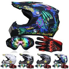 Motocross Motorcycle Offroad Super Protector Full Face Helmet Goggles+Glove H215