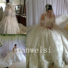 Luxury Ball Gown Princess Wedding Dresses White/Ivory Lace Crystals Bridal Dress