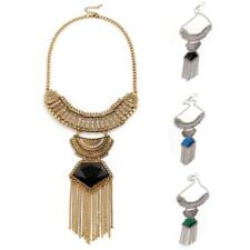 Lady Elegant Jewelry Retro Long Chain Tassels Crystal Pendant Statement Necklace
