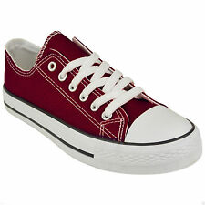 New Womens Ladies Girls Flat Lace Up Plimsolls Pumps Canvas Trainers Shoes