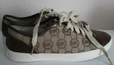 NEW LADIES MICHAEL KORS BROWN JACQUARD/LEATHER MONOGRAM SNEAKERS PICK SIZE