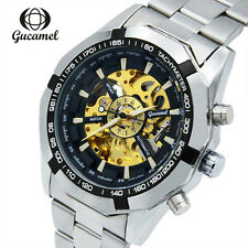Mens Skeleton Automatic Mechanical Wristwatch Hollow Stainless Steel Gold Watch