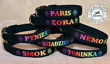 Adjustable Dog Collar Pet Personalized Embroidered name phone number colorful