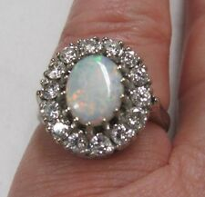 14k WHITE GOLD Fire Opal with Diamonds Ring, Regal, size 7.5/8