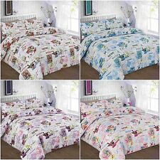 MODERN TILLY BIRDS FLORAL DUVET COVER BEDDING SET SINGLE DOUBLE KING SUPERKING