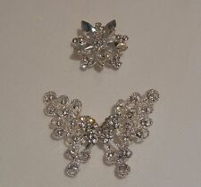 Bridal wedding rhinestones butterfly brooch pin / floral rhinestones motif craft