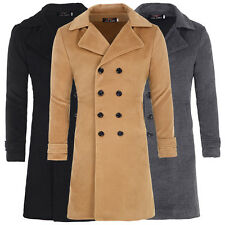 PJ Slim Fit Mens New Double Breasted Jacket Long Wool Blends Trench Coat Outwear