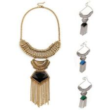 Lady Popular Jewelry Retro Long Chain Tassels Crystal Pendant Statement Necklace