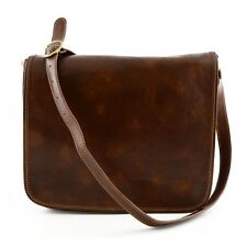 Genuine Leather Messenger Bag 2 Compartments - Fonty