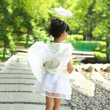 Adult Child Black White Feather Angel Wings Costume Wand Halo Party Fancy Dress