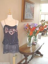Twelfth Street by Cynthia Vincent Vintage Inspired Tops Size S Blue Silk $358