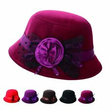 6 Color Fashion Lady Women's Retro Vintage Bowler Cap Trendy Wool Felt Derby Hat