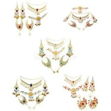 Wedding Bridal Party Indian Costume Necklace Earring Headpiece Hand Jewelry Set