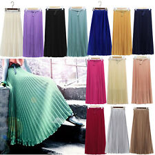 Women Bohemian Chiffon Long Skirts High Waist Pleated Casual Maxi Beach Skirt