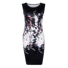 Sexy Women Hot O Neck Sleeveless Floral Print Slim Mini Summer Hip Dress