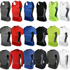 Mens Boys Body Fitness Compression Baselayer Thermal Under Tight Shirt Top Skins