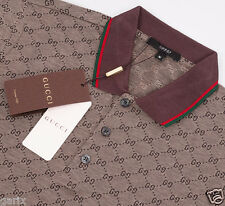 GUCCI Men's Polo T-Shirt, GG Print Brown Short Sleeve Polo Shirt 100% Cotton