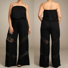 Plus Jumpsuit Black Lace Wide Leg Palazzo Smocked 1X 2X 3X Strapless Tube Casual