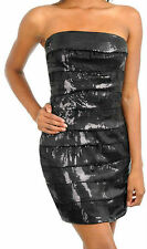 Dress Cocktail Sequin Black Ruffle Tulle Sparkling Strapless Mini Formal New