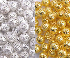 GOLD & SILVER PLATED Metal FILIGREE Round Spacer BEADS - Choose 4MM 6MM 8MM 10MM