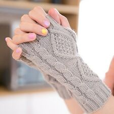 Popular Women Arm Warmer Fingerless Knitted Long Warm Gloves Cute Mittens Winter