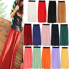 Fashion Women Chiffon Pleated Long Maxi Skirt Elastic Waistband Dress