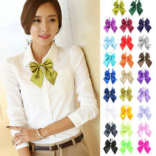 Womens Girls New Stylish Party Banquet Solid Stain Adjustable Bow Tie Neckties