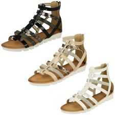 Womens Savannah Low Wedge Diamante Trim Gladiator Sandal