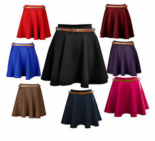 New Womens Ladies Waist Belted Flared Franki Mini Skater Skirt Size UK 8-14