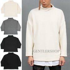 Men's Fashion Loose Fit High Neck Split Side Knit Tee, GENTLERSHOP