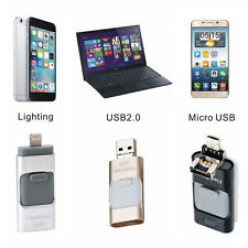 32/64/128GB 3in1 Portable USB i-Flash Drive HD Memory Stick For IOS Android