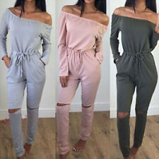 Womens Autumn Sport Long Sleeve One Piece Romper Jumpsuit Jogger Romper Trouser