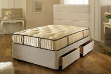 SMALL SINGLE, SINLGE 3000 POCKET SPRING DIVAN BED WITH TUFTED MATTRESS + STORAGE