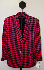 Vialex Red & Black Women's Houndstooth Single Button Jacket - Sizes 8 or 10