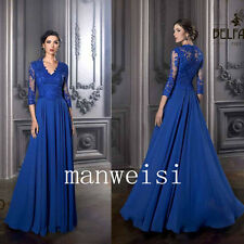 Noble Blue Long Chiffon Dresses For Evening Prom Party Applique Bridesmaid Gowns