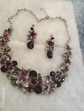 New Floral Austrian Purple Rhinestone Dragonfly Alloy Necklace and Earrings Set