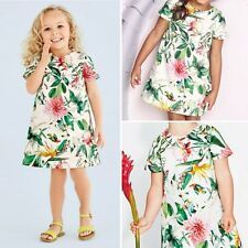 0-5Y Baby Girl Flower Print Cotton Princess Dress Toddler Kid Short Sleeve Dress