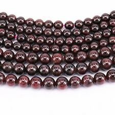"16"" Strand Natural Garnet Gemstone Stone Round Loose Spacer Bead Finding 4-10MM"